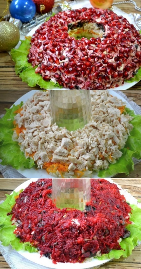 """Салат """"Гранатовый браслет"""" с грибами и курицей"""