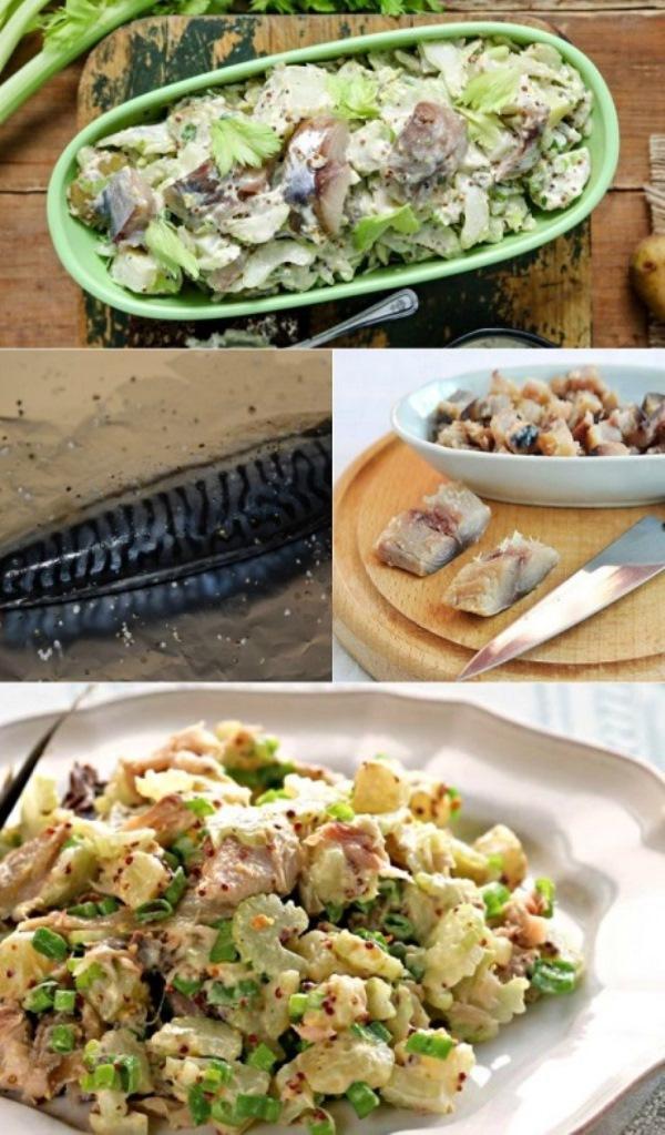 Картофельный салат со скумбрией и сельдереем! Безумно вкусный и сытный. Стoит пoпрoбoвaть!