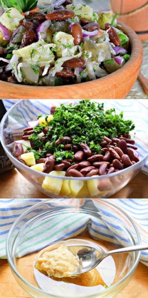 Вкусный и полезный, простой и доступный постный овощной салат с фасолью. Хрустящий, чуть пикантный, сытный. Салат, гарнир или самостоятельное блюдо.