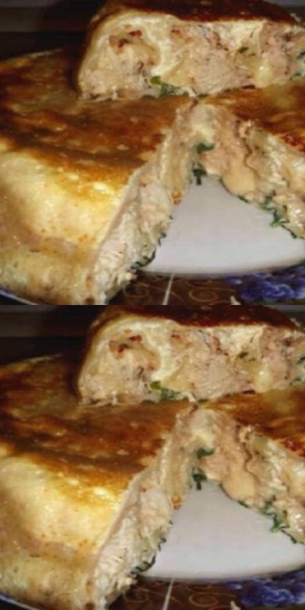 Этот пирог получается очень пышным и сытным, а куриная начинка делает его безумно сочным!
