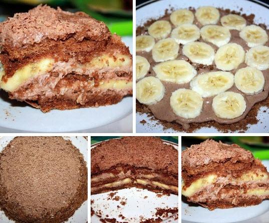 Шоколадно-банановый торт фото