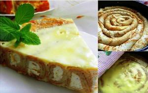 Блинный пирог с творожной начинкой фото