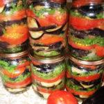 Вкусные баклажаны консервированные с помидорами