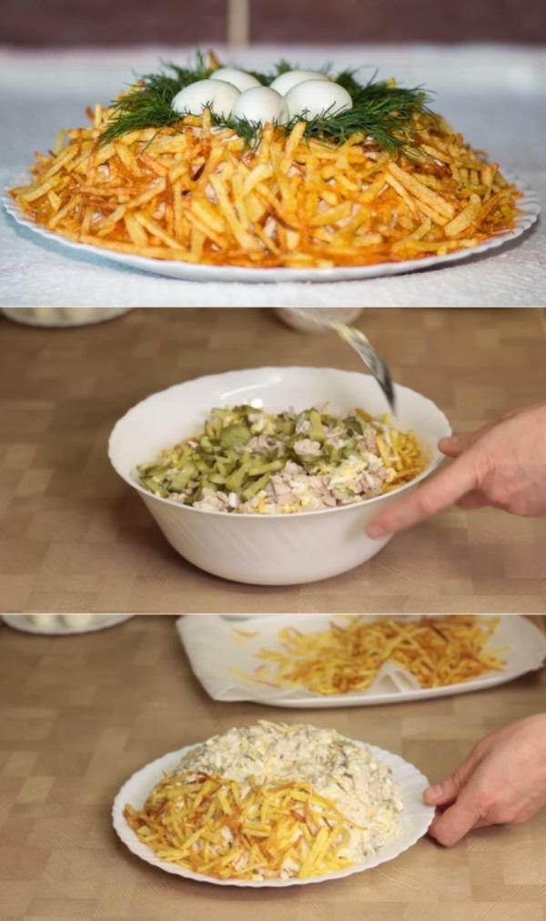 Один из самых вкусных салатов Гнездо глухаря